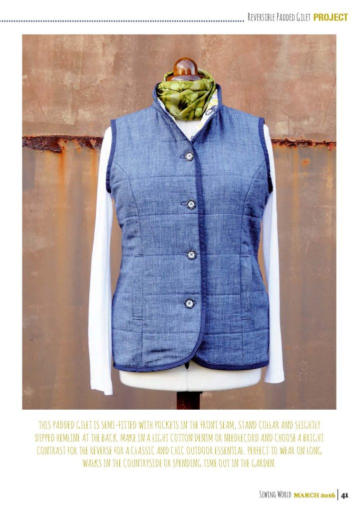 Reversible padded gilet project for Sewing world magazine