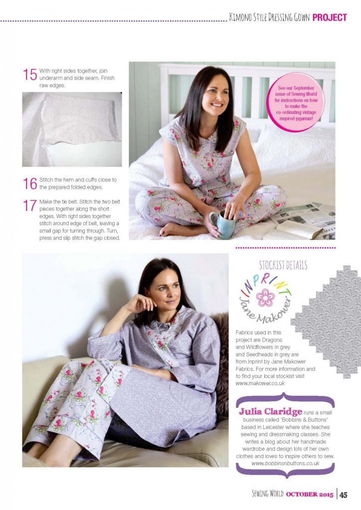 Kimono dressing gown project for Sewing world magazine - Bobbins ...