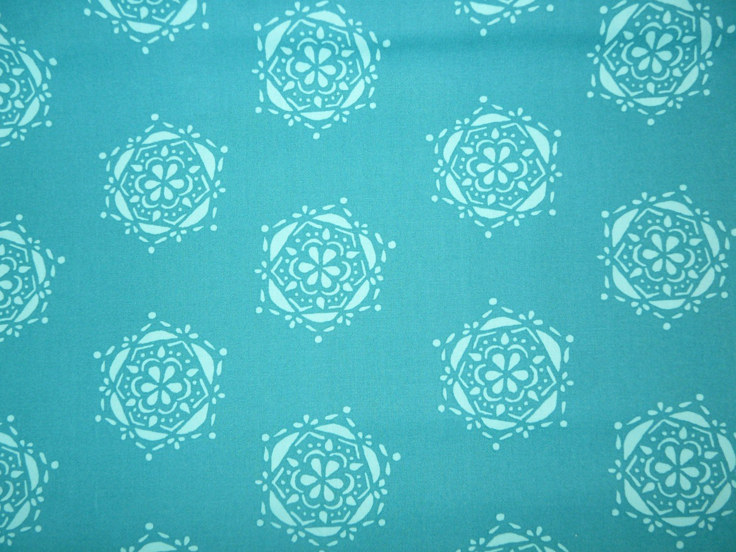 Sale art gallery lavish bejeweled seal teal printed for Printed cotton fabric