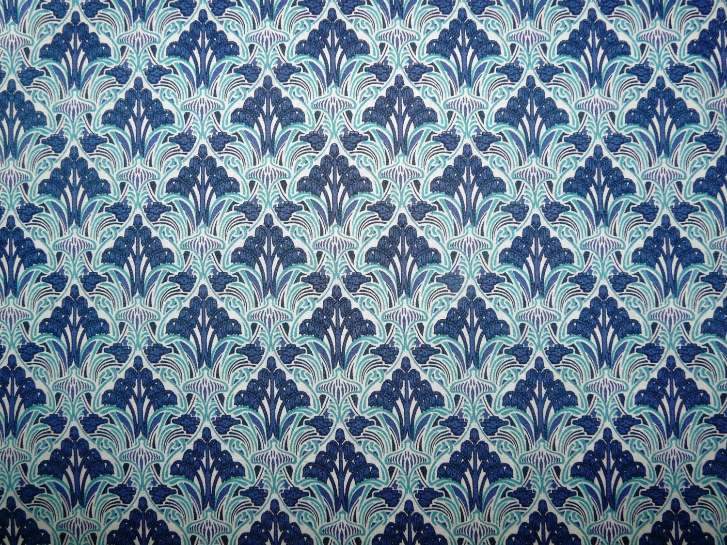 Pima cotton lawn blue art nouveau printed cotton for Printed cotton fabric