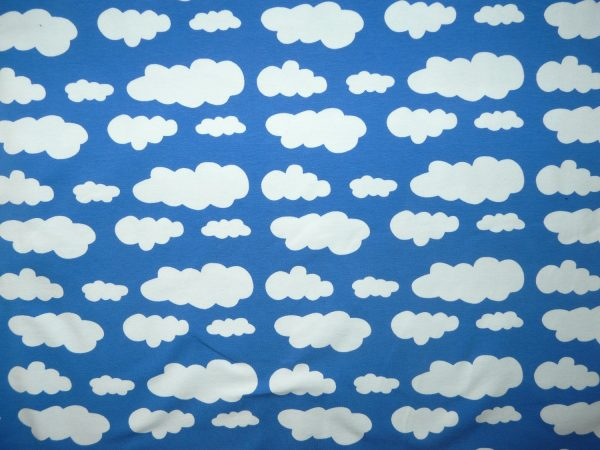 Royal blue cloud print knit
