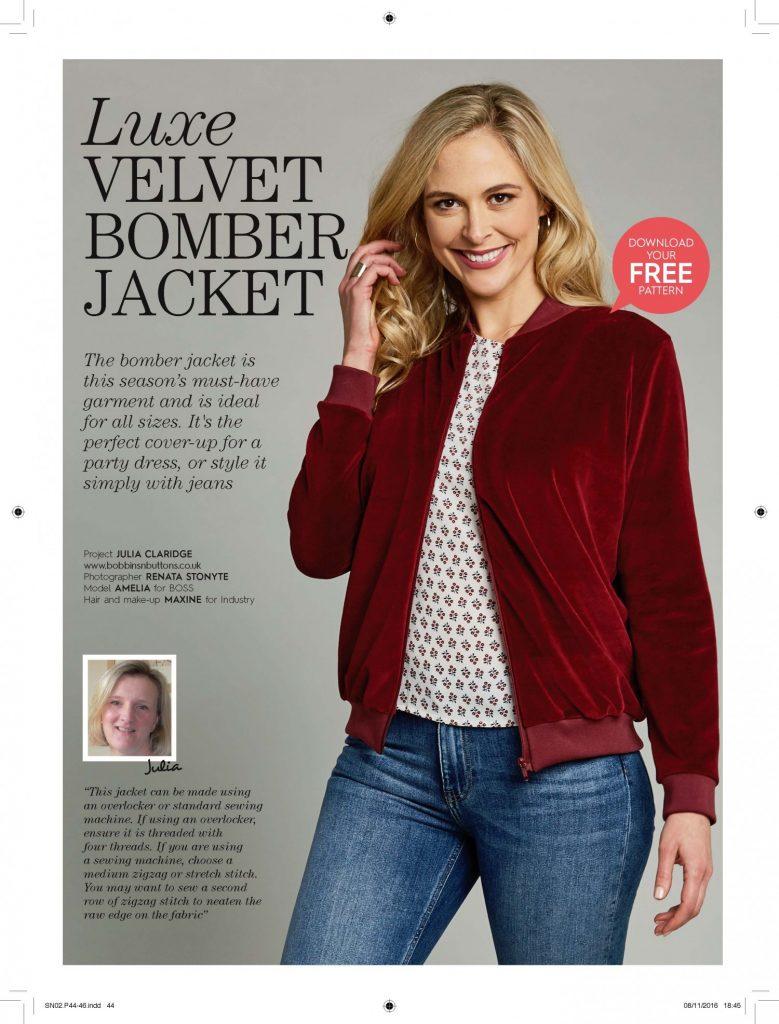 Plush velvet bomber jacket project for Sew Now magazine