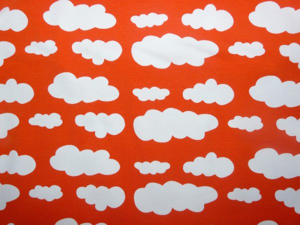 Orange cloud print knit