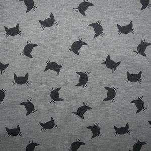 Cat print grey marl cotton sweatshirt