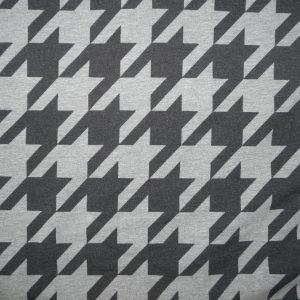Dogtooth print grey marl cotton sweatshirt