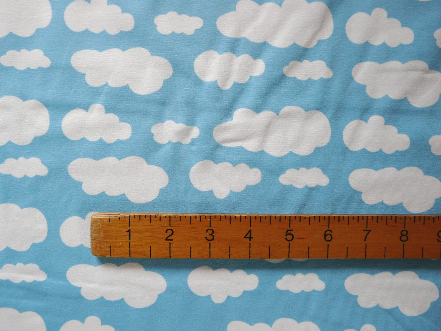 Jersey Fabric Sky Blue Cloud Print Knit Cotton
