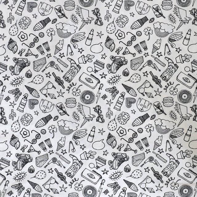 Rico - Black and white icons print - colour in fabric - woven ...