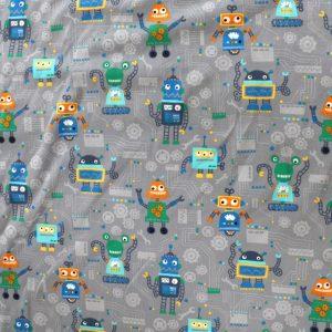 jersey fabric - grey robot print