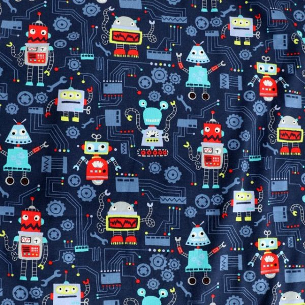 jersey fabric - navy robot print