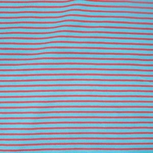 striped jersey fabric - turq/red