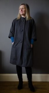 wool blend cocoon coat and velvet dress