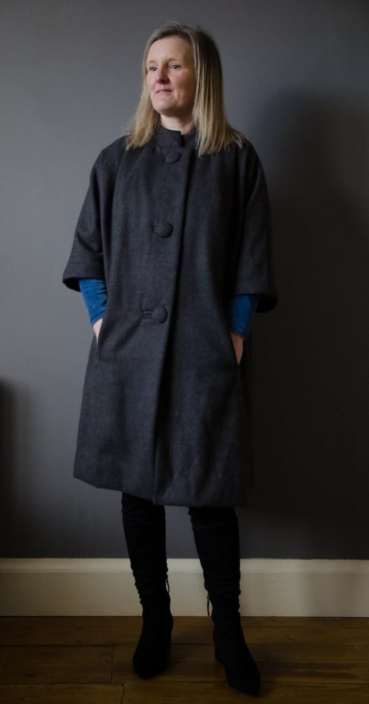 wool blend cocoon coat and velvet dress