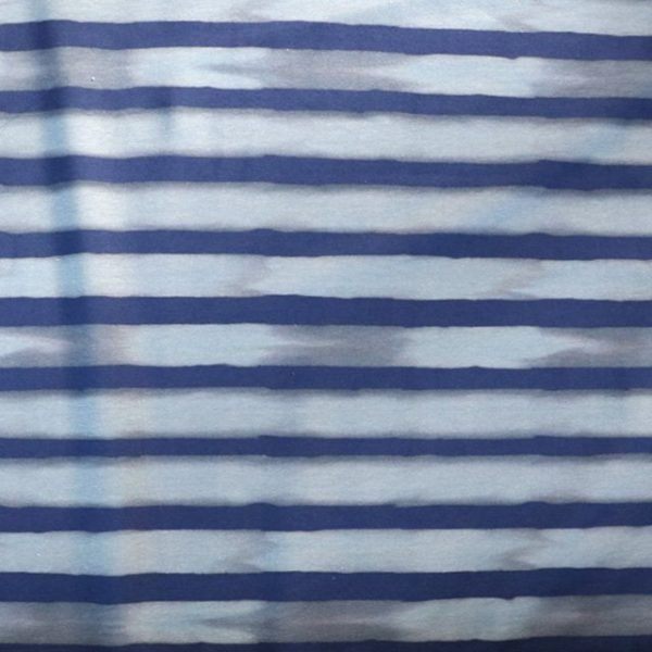 Jersey fabric - Navy and blue watercolour stripe print