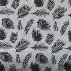 sweatshirt jersey fabric - grey marl feather print