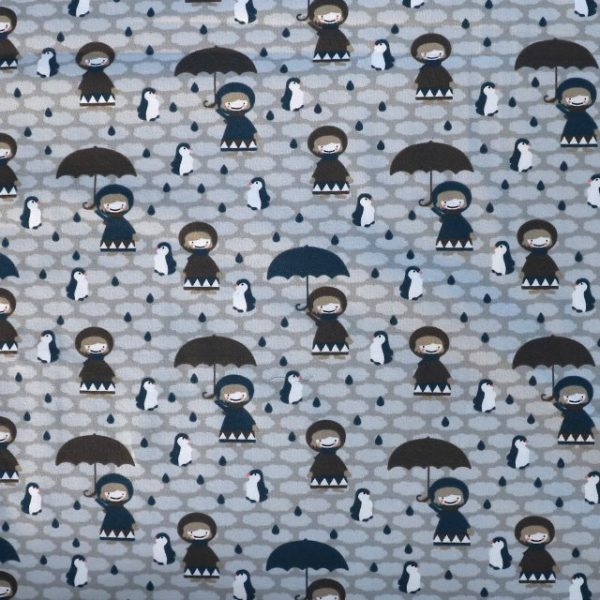 Grey penguin and umbrella print