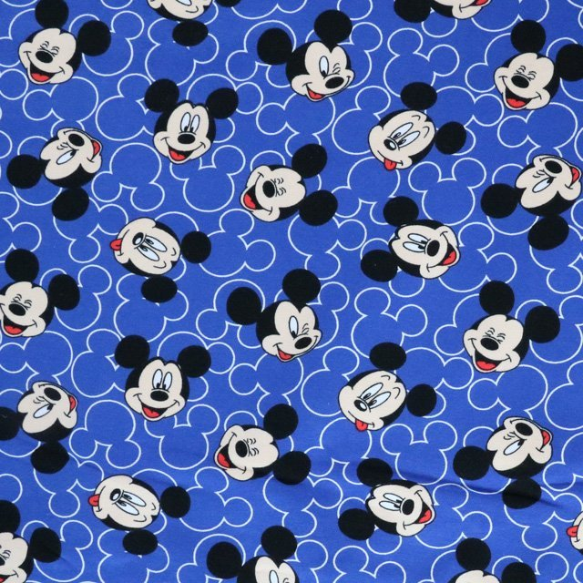 3504be39aa8 Jersey fabric - Mickey mouse face print knit - Blue - Cotton ...