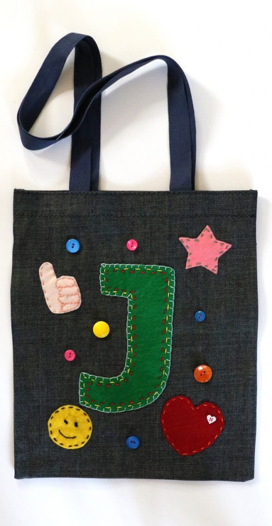 embellished denim tote bag