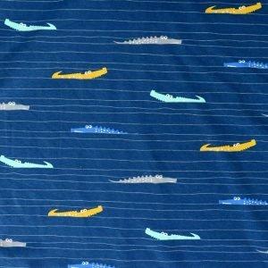 Cotton/elastane jersey fabric - Navy crocodile print