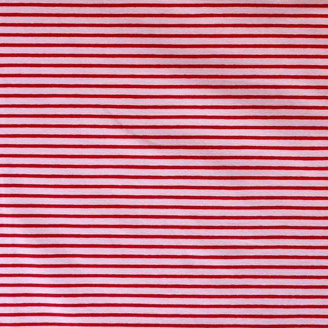 Cotton Elastane Striped Jersey Fabric Pink Red Knit