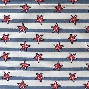 jersey fabric - Stripe and star fish print