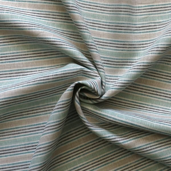 Lady McElroy - Green - Linen/viscose woven stripe.