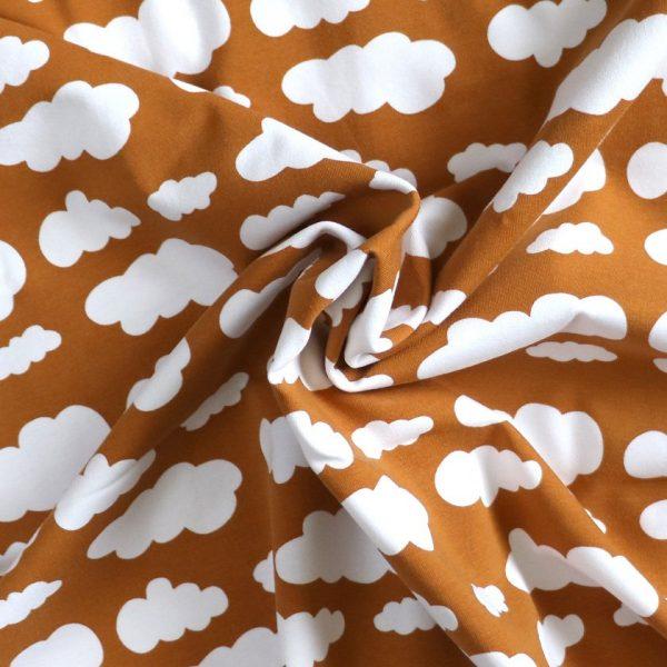 ochre cloud print jersey - Bobbins and buttons.
