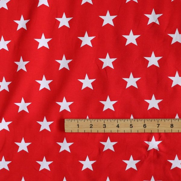 red and white star print knit fabric - Bobbins and Buttons