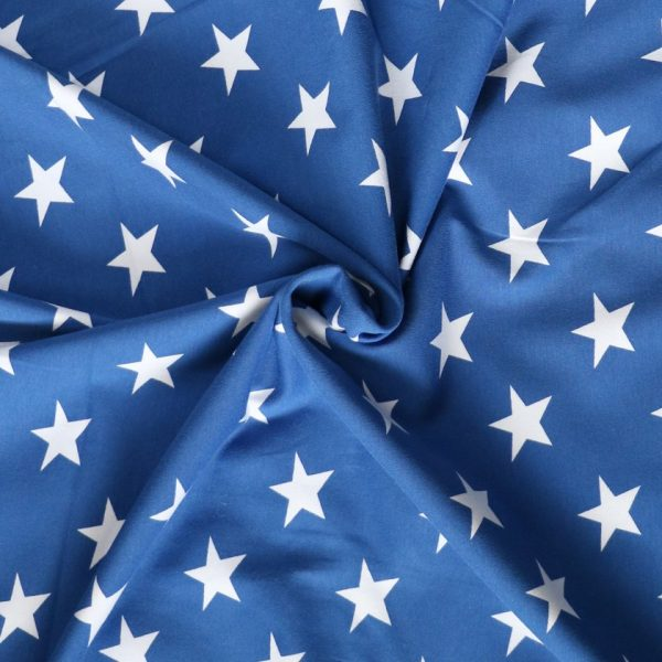 Royal blue and white star print jersey - Bobbins and buttons