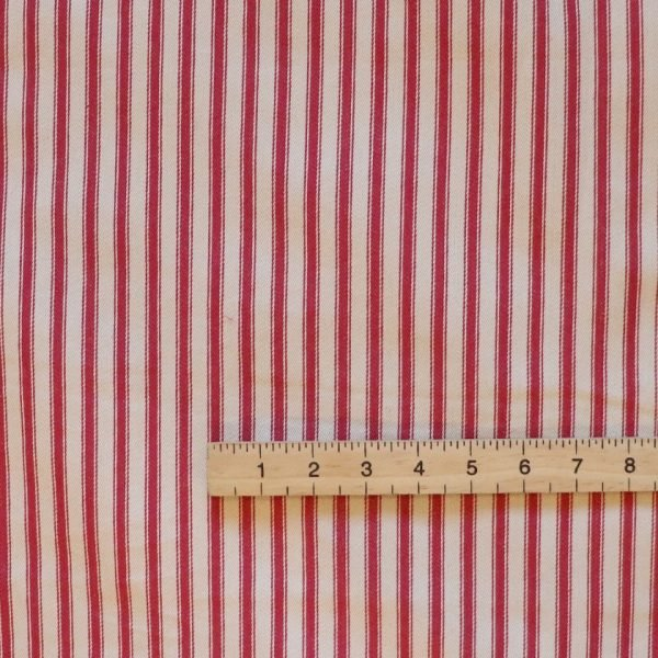 red ticking stripe Bobbins and buttons
