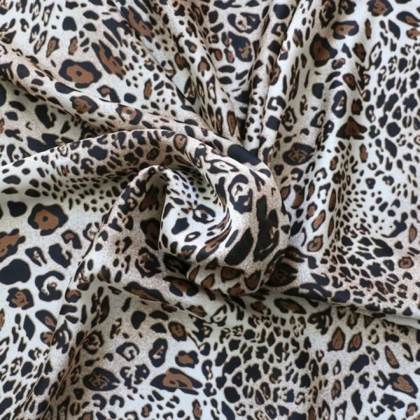 gold animal print silky satin
