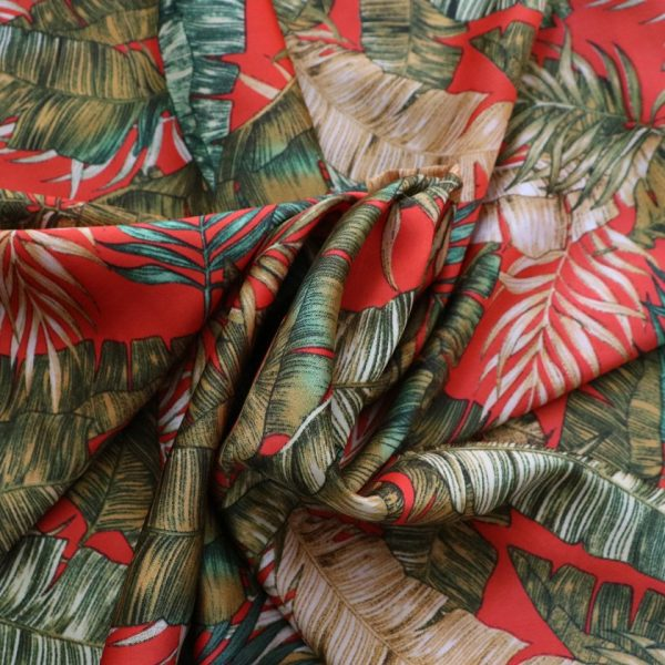 silky satin palm print fabric