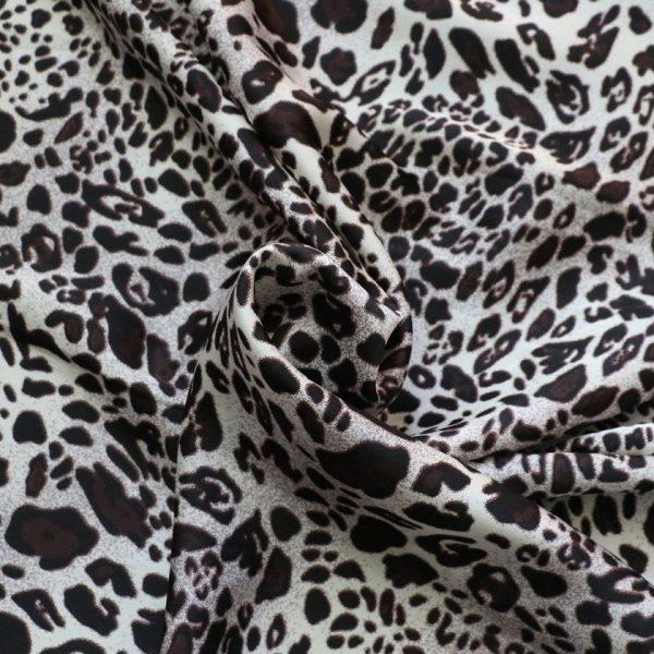 silver animal print silky satin fabric