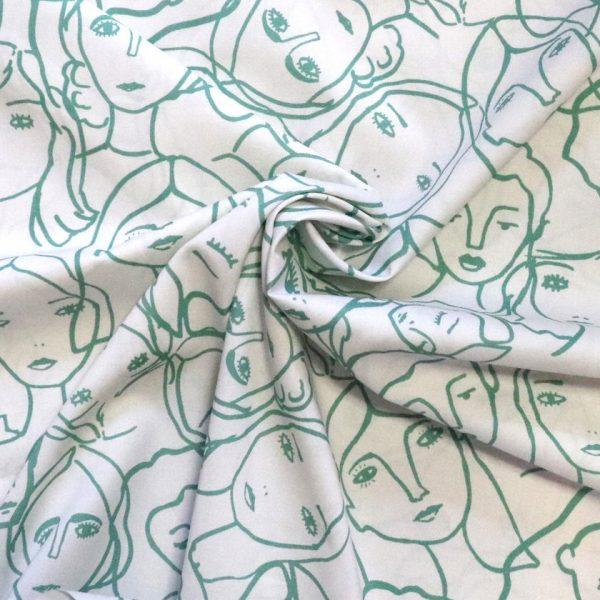 Lady McElroy - Crowded faces- Eau de nil- Cotton lawn. Bobbins and buttons