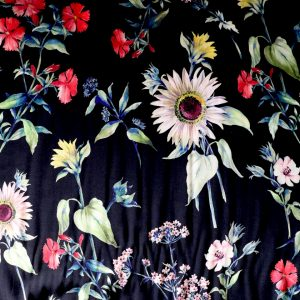 black floral viscose from bobbins and Buttons