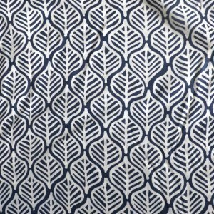 navy geometric leaf viscose from Bobbins and Buttons