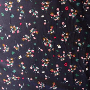 navy floral viscose Bobbins and Buttons
