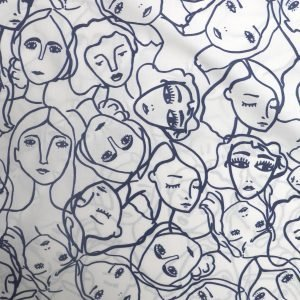 crowded faces cotton lawn from Bobbins and Buttons