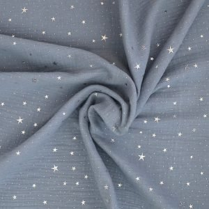 denim blue metallic star double gauze from Bobbins and buttons