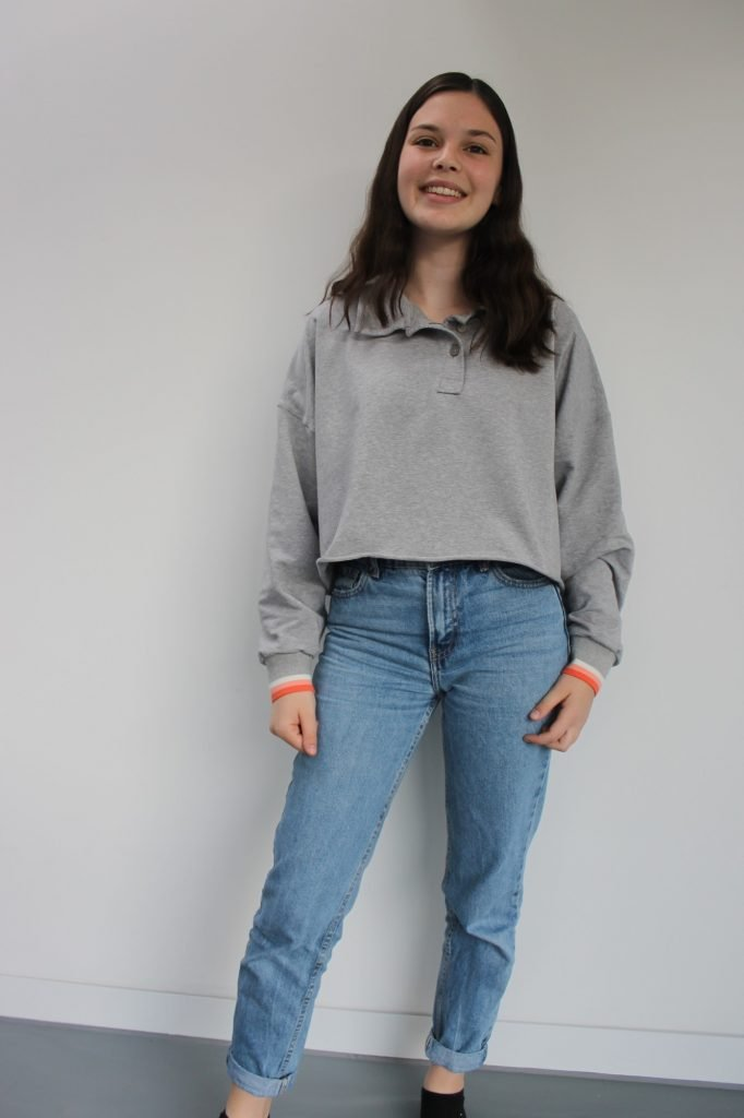 Anna's french terry handmade sweatshirt on Bobbins and Buttons blog