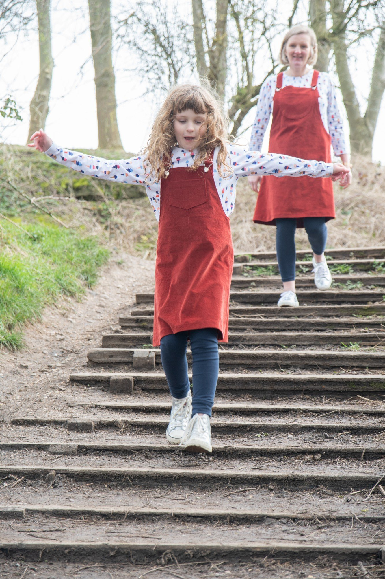 Bobbins and buttons dungaree dress patterns Emily and Mary.