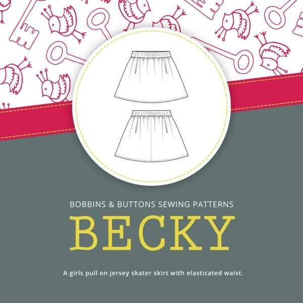 Becky girls skirt sewing pattern from Bobbins and Buttons tern