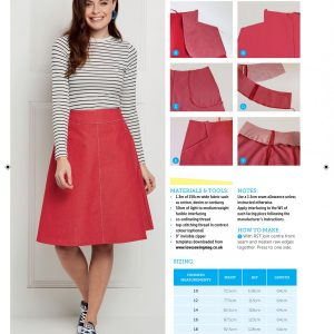 Red denim A-line skirt for sale from Bobbins and buttons