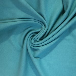 Soft teal cotton/elastane jersey ribbing fabric from Bobbins and buttons