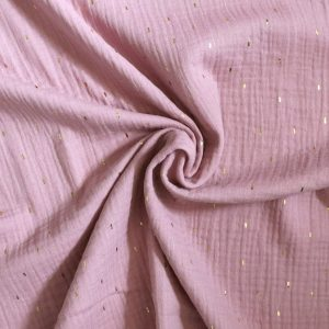gold foil print double gauze from Bobbins and Buttons
