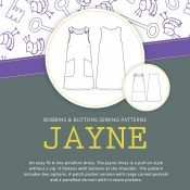 Jayne buttons shoulder pinafore sewing pattern from Bobbins and Buttons